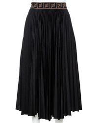 Fendi Black Techno Jersey Ff Logo Trim Pleated Skirt