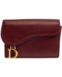 Dior Red Leather Saddle Card Holder