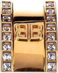 Balenciaga Gold Tone Logo Clip Ear Cuff - Metallic