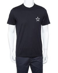 Givenchy Black Cotton Star Print Crewneck T Shirt