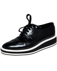 Prada Black Brogue Leather Wingtip Platform Sneakers