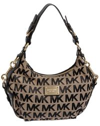 Michael Kors Beige/black Signature Canvas And Leather Hobo - Natural