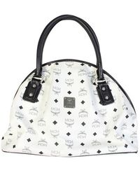 MCM White Visetos Canvas Satchel