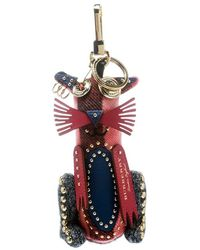 Burberry Rufus The Cat Russet Cashmere Embellished Key Ring / Bag Charm - Red