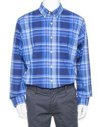 Ralph Lauren - Navy Blue Plaided Button Front Shirt - Lyst