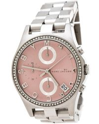 Marc By Marc Jacobs - Pink Stainless Steel Crystal Henry Chronograph R258296 Women's Wristwatch 36 Mm - Lyst