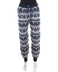 Chanel Navy Blue And White Cashmere Chunky Jacquard Knit Jogger Pants S