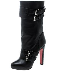 Christian Louboutin Black Python And Leather Loubi Bike Boots