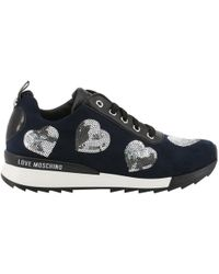 Moschino - Love Tricolor Faux Leather And Fabric Lace Up Sneakers Size 36 - Lyst