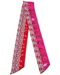 Hermès Red & Pink Parures Des Maharajas Silk Twilly Scarf