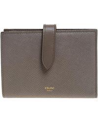 Céline Taupe Leather Medium Strap Wallet - Gray