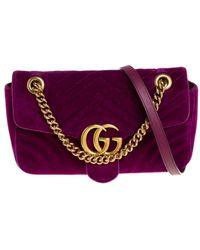 Gucci Magenta Matelasse Velvet Small GG Marmont Shoulder Bag - Purple