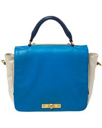 Marc By Marc Jacobs Blue/white Leather Goodbye Columbus Top Handle Bag