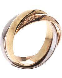 Cartier Trinity 18k Three Tone Gold Band Ring Size 52 - Metallic