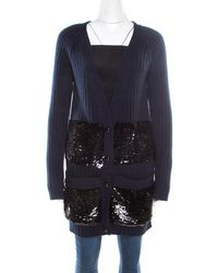 Louis Vuitton Navy Blue Sequin Embellished Button Front Cardigan M