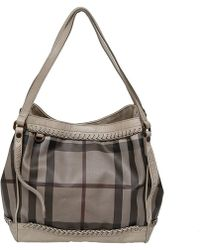 Burberry Smoked Check Coated Canvas Tote - Multicolour
