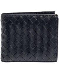 Bottega Veneta Dark Blue Intrecciato Leather Bifold Wallet