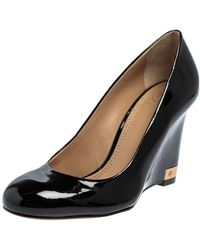 Tory Burch Black Patent Leather Wedge Pumps