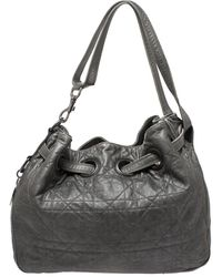 Dior Metallic Grey Cannage Leather Drawstring Tote