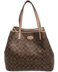 COACH Beige/brown Signature Canvas And Leather City Zip Top Tote - Natural