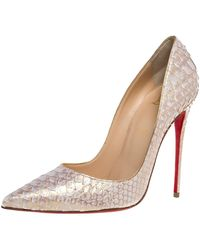 Christian Louboutin White/gold Python Leather So Kate Pointed Toe Court Shoes