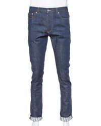 Dior Homme Navy Blue Denim Oblique Print Detail Slim Fit Jeans