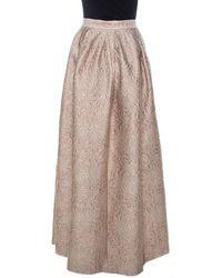Max Mara Cream Lurex Floral Pattern Jacquard Long Skirt L - Natural