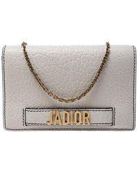 Dior Off White Leather J'a Chain Clutch