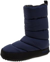 521d8e2d9f6 Blue Quilted Nylon Fabric Howard Fleece Lined Tall Snow Boots Size 38