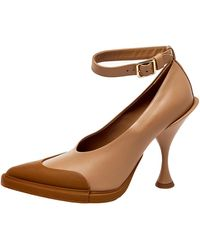 Burberry Brown Leather And Rubber Evan Ankle Strap Court Shoes