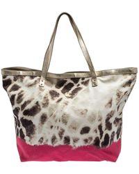 Roberto Cavalli Just Cavalli Beige/pink Printed Fabric Shopper Tote - Natural