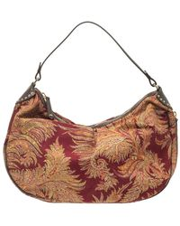 Etro Multicolour Paisley Canvas And Velvet Zip Detail Hobo - Brown