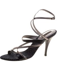 Louis Vuitton - Python And Metallic Grey Leather Strappy Sandals - Lyst