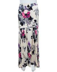 Roberto Cavalli Cream Floral Print Silk Satin Maxi Skirt - Multicolor