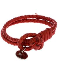 Bottega Veneta Red Intrecciato Nappa Leather Double Strand Bracelet M