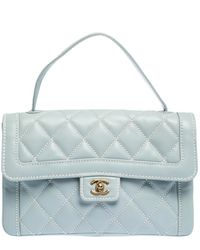 Chanel Powder Blue Wild Stitch Leather Flap Top Handle Bag