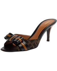 Fendi Black/brown Zucca Canvas And Leather Pride And Prejudice Bow Slide Sandals