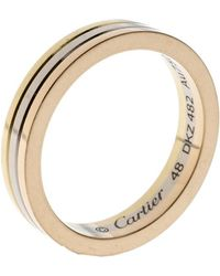 Cartier Trinity 18k Three Tone Gold Wedding Band Ring Size 48 - Metallic