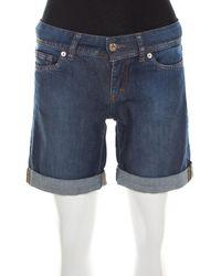 Dolce & Gabbana Indigo Dark Wash Denim Cuffed Hem Shorts - Blue