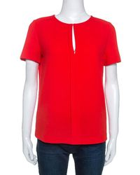 Tory Burch Red Textured Crepe Keyhole Detail Top