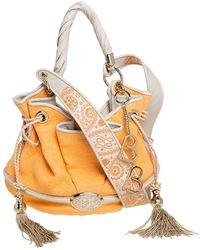 Lancel Orange Fabric Le Brigitte Bardot Bucket Bag