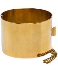 Céline - Céline Gold Tone Wide Cuff Bracelet - Lyst