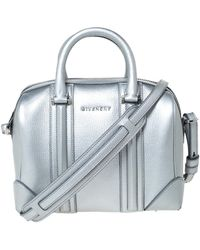 Givenchy Silver Leather Mini Lucrezia Duffel Bag - Metallic