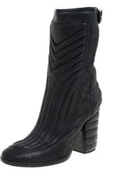 Laurence Dacade Black Leather Buckle Detail Zipper Ankle Boots