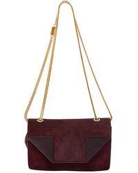 Saint Laurent Saint Laurent Burgundy Suede And Leather Betty Shoulder Bag - Multicolor