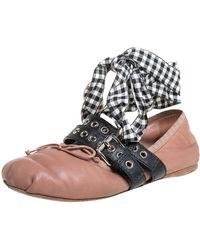 Miu Miu Beige Leather Belted Ankle Wrap Ballerina Flats - Natural