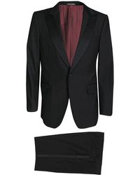 Ferragamo - Satin Lapel And Panel Detail Wool Suit Xxl - Lyst