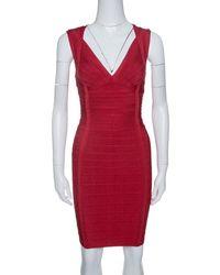 Hervé Léger Lipstick Red Sleeveless Darby Bandage Dress