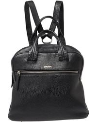 DKNY Black Grain Leather Two Way Backpack