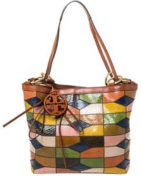 Tory Burch Multicolour Snakeskin And Leather Farah Patchwork Hobo